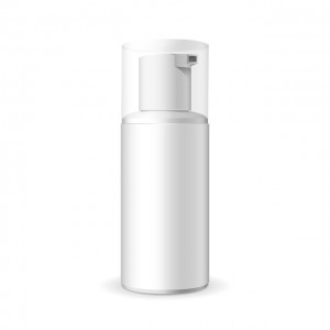 Make up. Tube of cream or foam in plastic product. Container, product and packaging. White background.