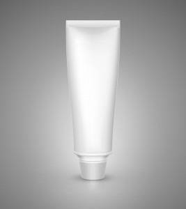 White tube mock-up for cream, tooth paste, gel, sauce, paint, glue. Vector illustration EPS 10